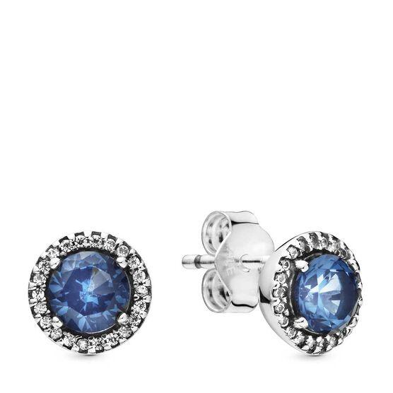 Pandora Blue Round Sparkle Crystal & CZ Stud Earrings