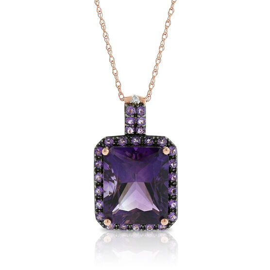 Rose Gold Emerald Cut Amethyst & Diamond Necklace 14K