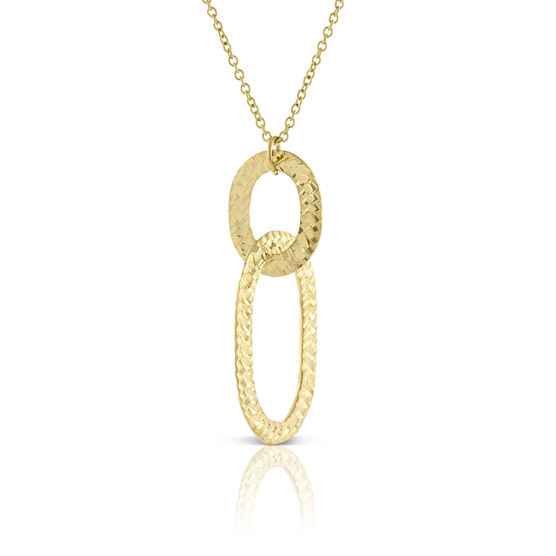Double Diamond Cut Links Pendant 14K