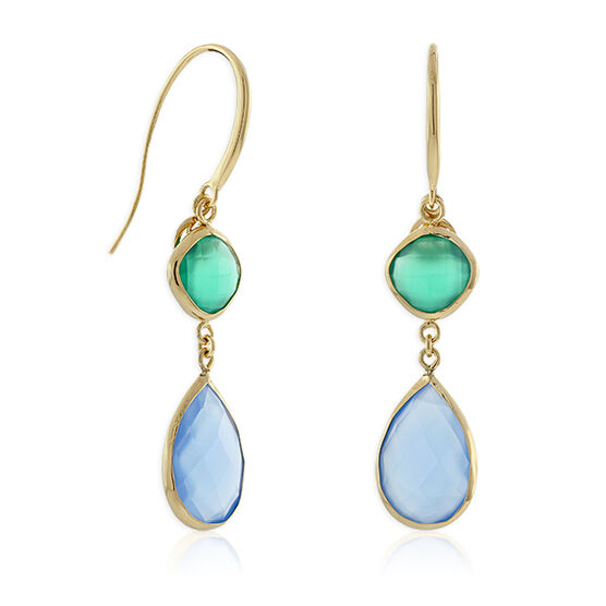 Lisa Bridge Chalcedony & Agate Dangle Earrings 14K