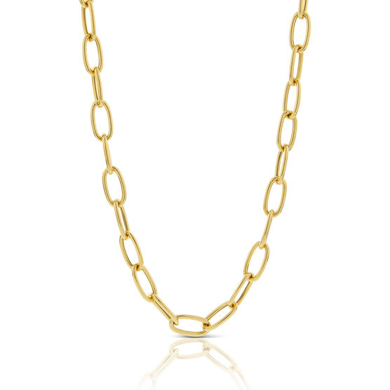 """Toscano Oval Paperclip Chain Necklace 14K, 20"""""""