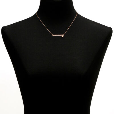 Rose Gold Bar Necklace With Heart 14K