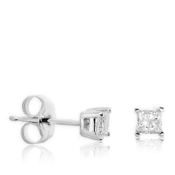 Princess Cut Diamond Solitaire Stud Earrings 14K, 1/3 ctw.