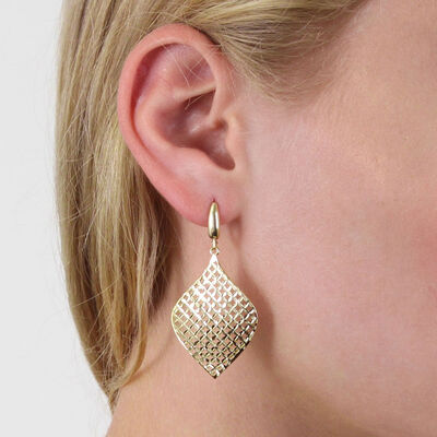 Toscano Mesh Fan Drop Earrings 14K