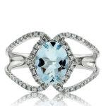 Oval Aquamarine & Diamond Crossover Ring 14K