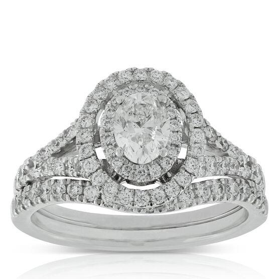Oval Cut Diamond Bridal Set 14K