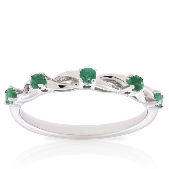 Emerald Open Twist Band 14K