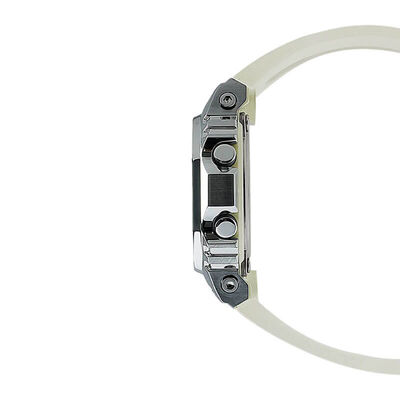 G-Shock Steel White Strap Rectangular Watch, 43.8mm
