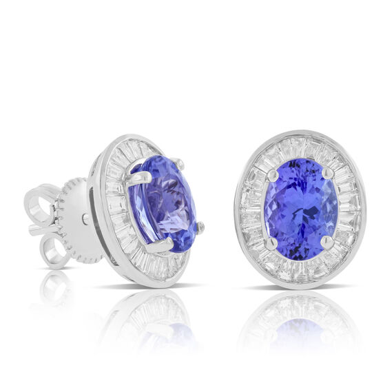 Tanzanite & Baguette Diamond Earrings 14K