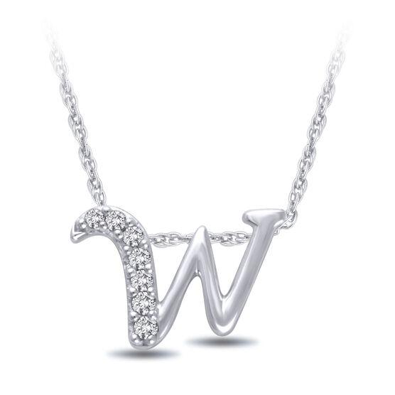 "Diamond ""W"" Initial Pendant 14K"