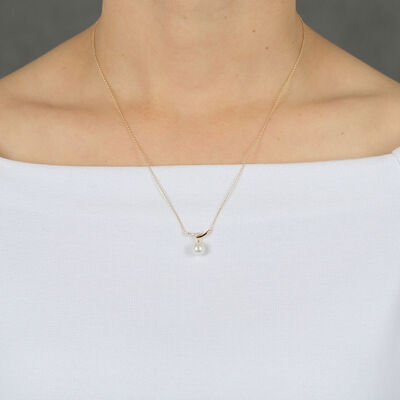 Cultured Freshwater Pearl & Diamond Necklace 14K