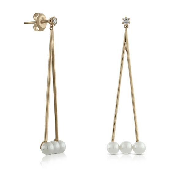 Rose Gold Cultured Pearl & Diamond Swing Earrings 14K