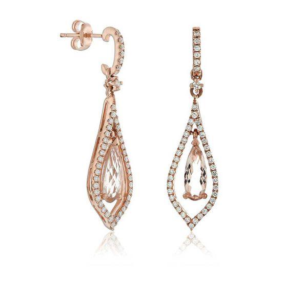 Rose Gold Pear Shaped Morganite & Diamond Earrings 14K