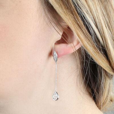Blue Topaz & Diamond Dangle Earrings 14K