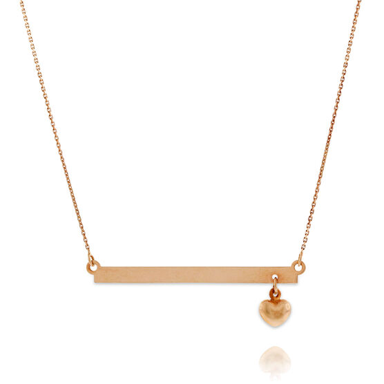 Rose Gold Engravable Bar Necklace With Heart 14K