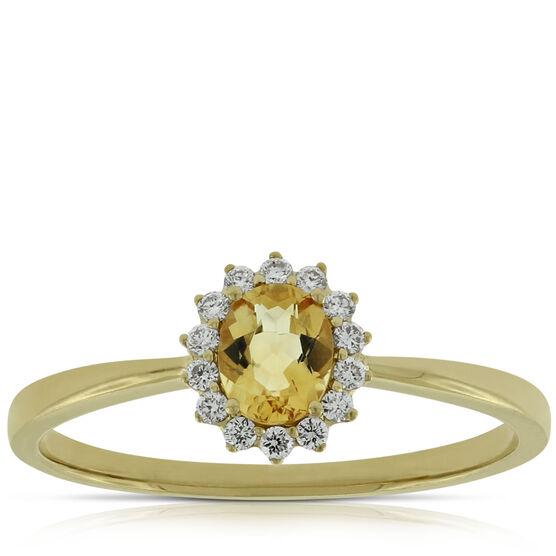 Citrine Halo Diamond Ring 14K