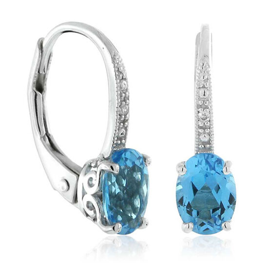 Blue Topaz & Diamond Earrings 14K