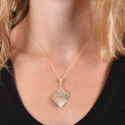 Toscano Mesh Fan Drop Pendant 14K
