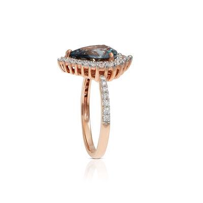 Rose Gold Pear Gray Spinel & Diamond Ring 14K