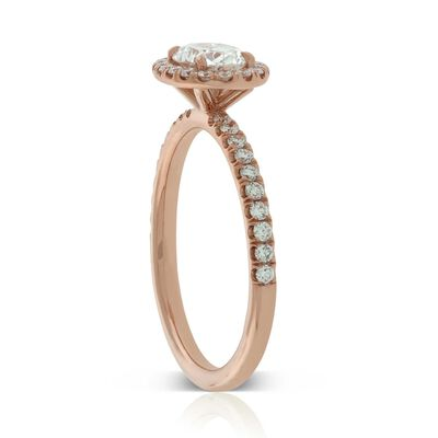 Rose Gold Oval Diamond Halo Ring 14K, 3/4 ct. Center