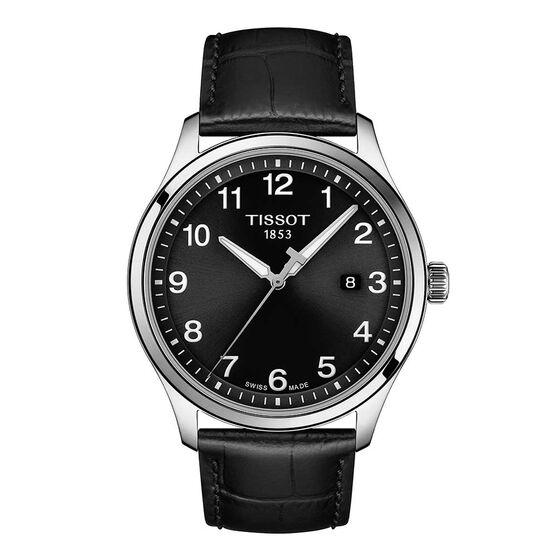 Tissot Gent XL Classic Black Dial Leather Steel Watch, 42mm
