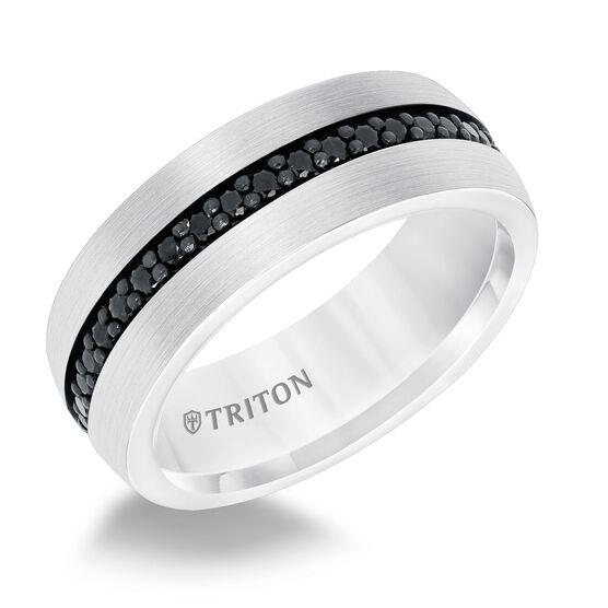 TRITON White Tungsten Black Sapphire Band