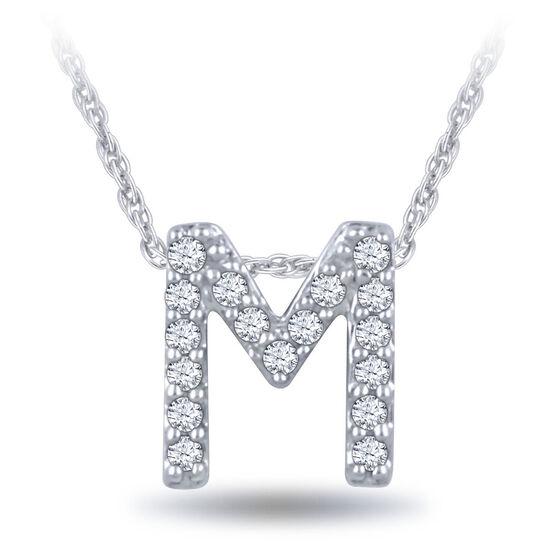 Diamond Initial Pendant 14K Letter 'M'