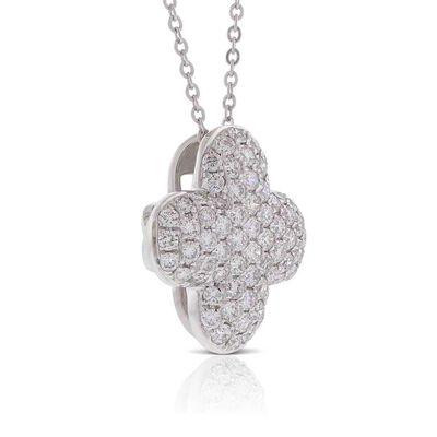 Diamond Pavé Clover Necklace 14K