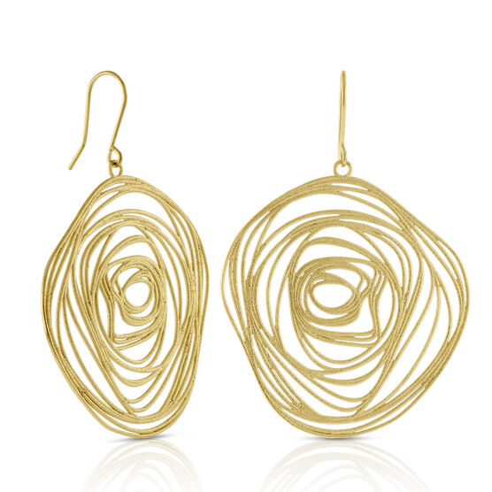 Toscano Curled Medallion Earrings 14K