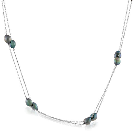 Dyed Black Freshwater Cultured Pearl Necklace in Sterling Silver
