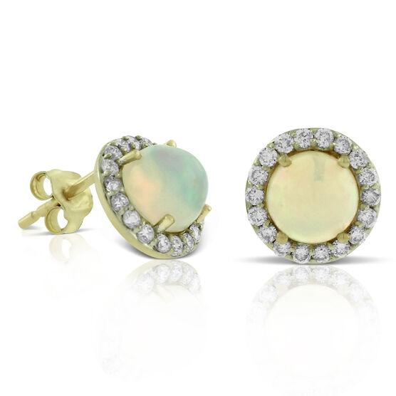 Opal & Diamond Halo Earrings 14K