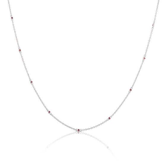 Bezel Set Ruby Necklace 14K