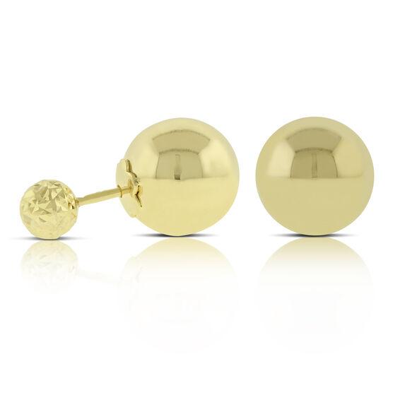 Double Ball Stud Earrings 14K