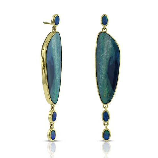 Lisa Bridge COUTURE Opal Doublet Dangle Earrings 18K