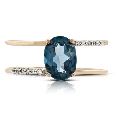 Rose Gold Blue Topaz & Diamond Ring 14K