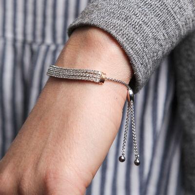 Bolo Three Row Diamond Bracelet 14K, 3 ctw.