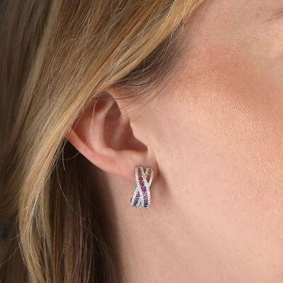 Rainbow Sapphire & Diamond Criss Cross Hoop Earrings 14K