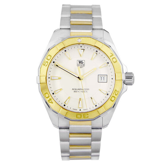Pre-Owned TAG Heuer Aquaracer Silver Dial Watch, 41mm, 18K & Steel