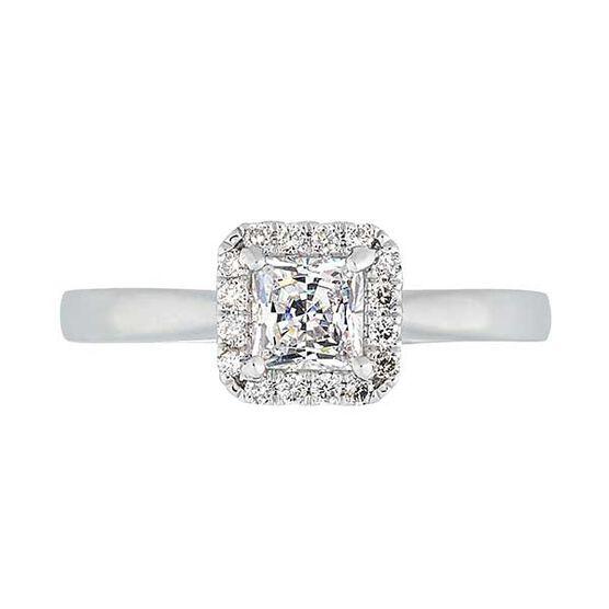 Square Halo Diamond Semi-Mount Ring 14K