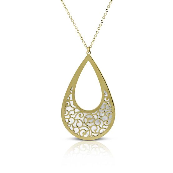Mother of Pearl Cutout Pendant 14K