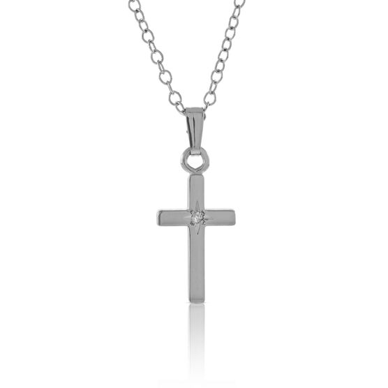 Baby Diamond Cross Necklace in Sterling Silver