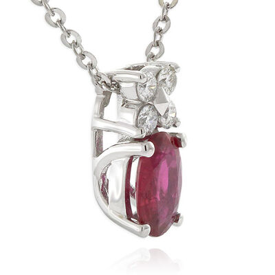Oval Ruby & Diamond Pendant 14K