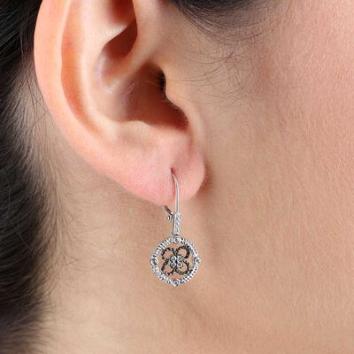 Diamond Black Rhodium Earrings 14K
