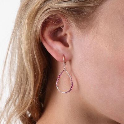 Rose Gold Pink Sapphire & Diamond Pear Shaped Earrings 14K