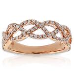 Rose Gold Diamond Braid Ring 14K