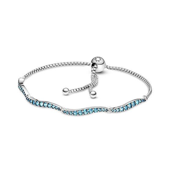 Pandora Blue Wavy Crystal Slider Bracelet