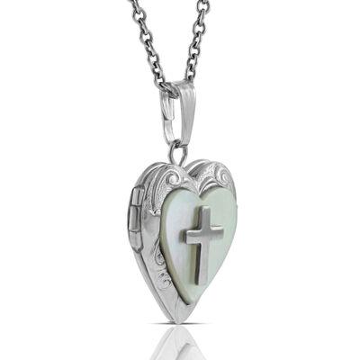 Heart Cross Baby Locket in Silver