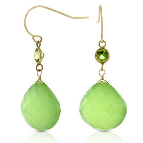 Chalcedony & Peridot Earrings 14K