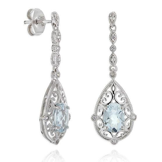 Aquamarine & White Topaz Dangle Earrings 14K