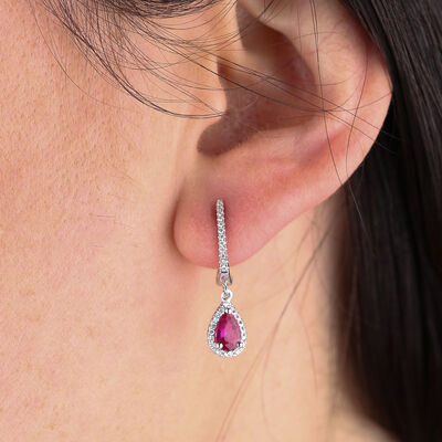 Ruby & Diamond Drop Earrings 14K
